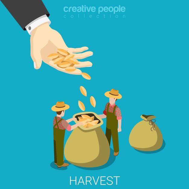 農業ビジネスコンセプトフラットを収穫する 無料ベクター