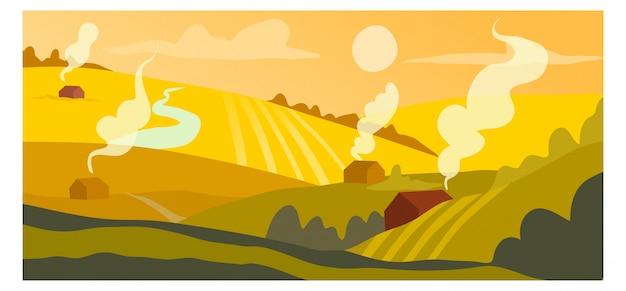 収穫作物概念播種フィールド、田舎の村の風景背景自然バナー漫画イラストアート。 Premiumベクター