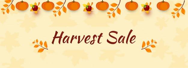 Harvest sale header or banner. Premium Vector
