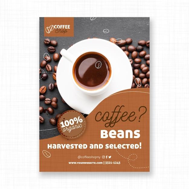 Шаблон флаера собранные кофейные зерна Бесплатные векторы