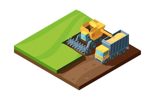 等角投影図の収穫。活気のある収穫機と農業機械を組み合わせて、畑で小麦を集め、コンセプトファームの自然農法。 Premiumベクター