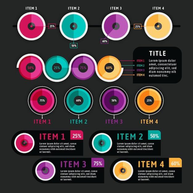 Харви шаровые диаграммы инфографики в плоском дизайне Бесплатные векторы