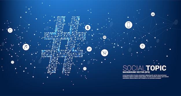 アイコン付きの点接続線ポリゴンからのハッシュタグ。社会的なトピックとニュースの背景概念。 Premiumベクター