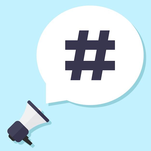Hash tag, megaphone and chat bubble Premium Vector