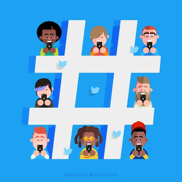 Hashtag background with characters Free Vector