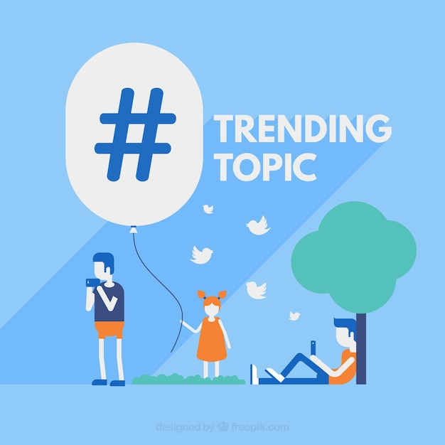 Hashtag background with persons outdoors Free Vector