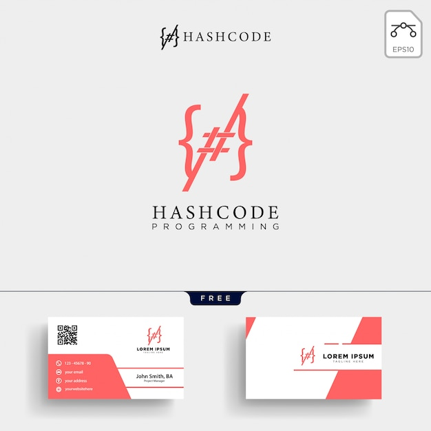 Hashtag and programming code logo template Premium Vector