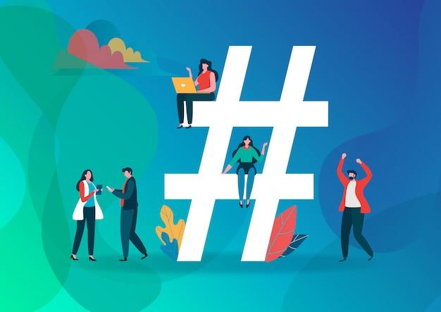Hashtag symbol. Premium Vector