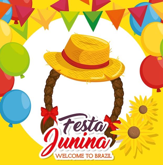Шляпа и косы с баннерами цветы и воздушные шары на желтом фоне векторные иллюстрации Premium векторы