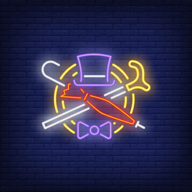 Hat, cane, umbrella and bow tie neon sign Free Vector
