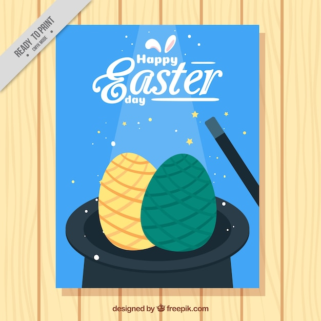 Hat flyer with easter eggs Free Vector