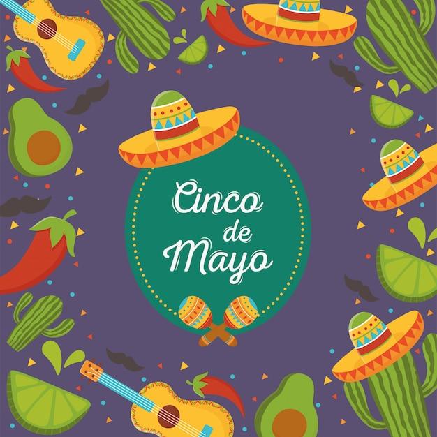 Шляпа гитара перец кактус синко де майо мексиканский праздник фон Premium векторы