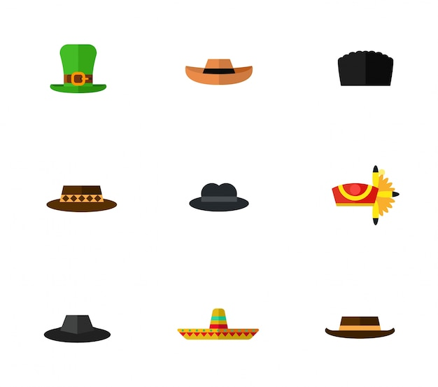 Hat icons collection Free Vector
