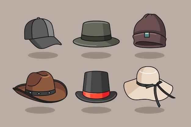 手描きスタイルの帽子のイラスト Premiumベクター