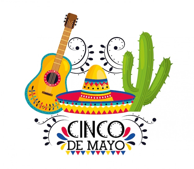 Hat with guitar and cactus plants to event Premium Vector
