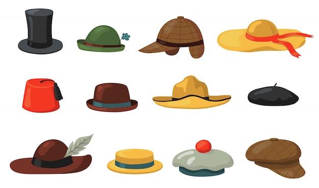 Hats and caps set Free Vector