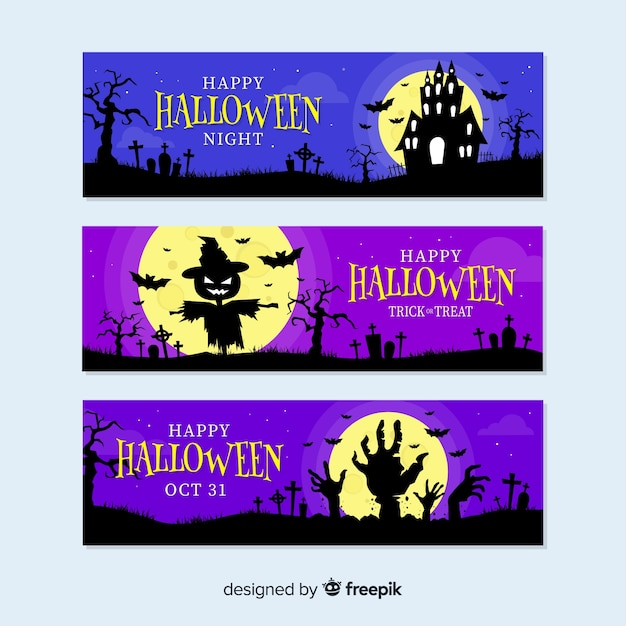 Haunted halloween decoration banners Free Vector