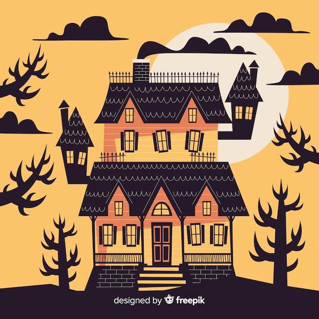 Хэллоуин дом с привидениями на закате Бесплатные векторы