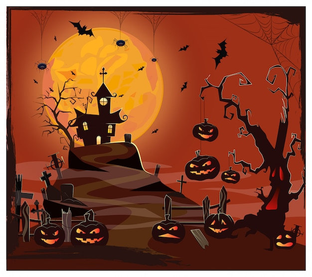 Haunted house against moon, cemetery and pumpkins Free Vector