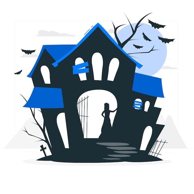 Illustrazione di concetto di casa stregata Vettore gratuito