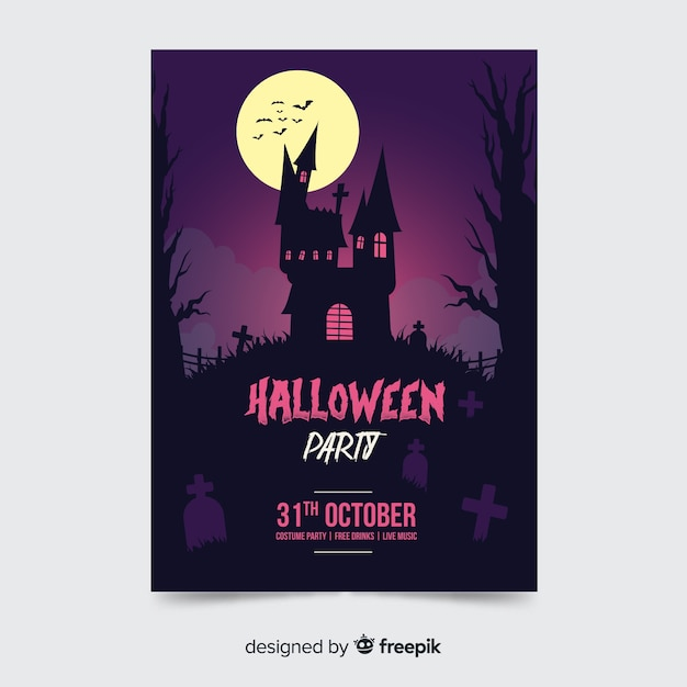 Haunted house halloween party poster template Free Vector