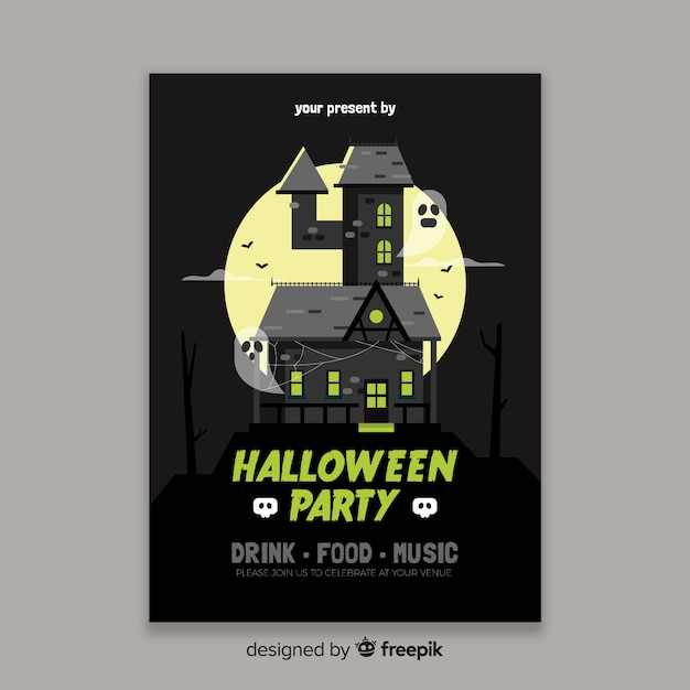 Haunted house halloween poster template Free Vector