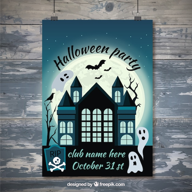 Haunted House Halloween Poster With Ghosts Free Vector