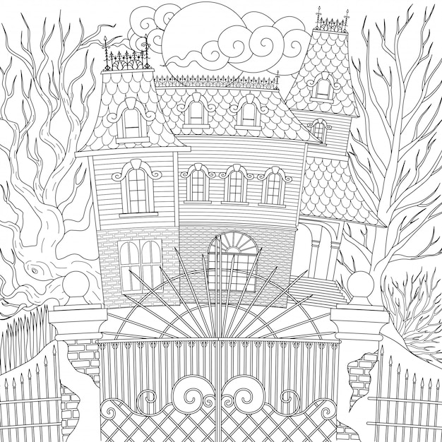 Haunted house, happy halloween .  illustration Premium Vector