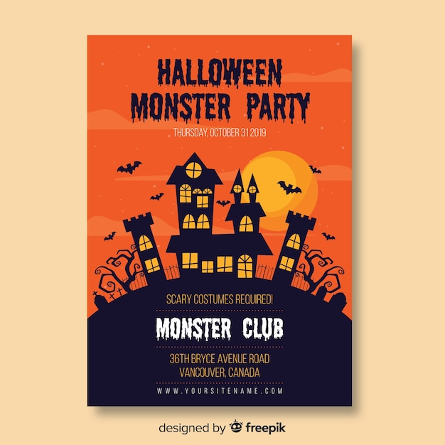 Haunted house on a hill flat poster design Free Vector