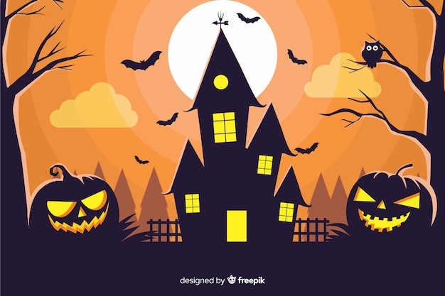 Haunted house with pumpkins background Free Vector