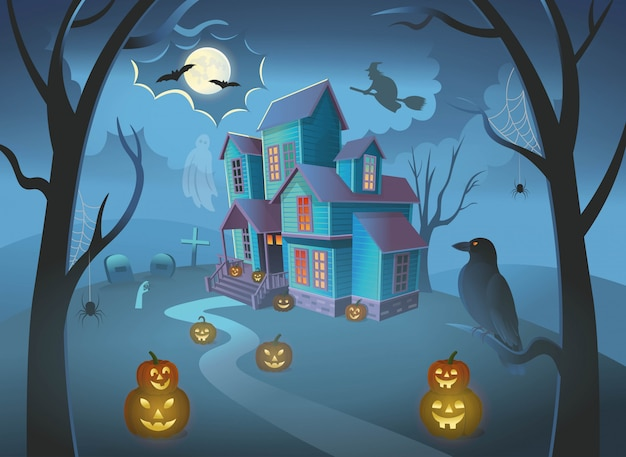 Haunted house with pumpkins, Premium Vector