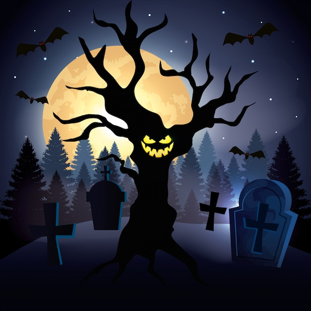 Haunted tree with cemetery in scene halloween Free Vector