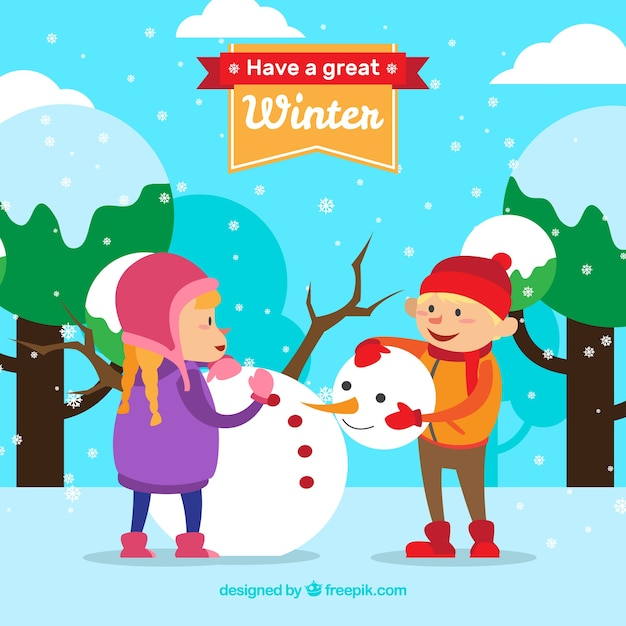 Have a great winter background with\ children