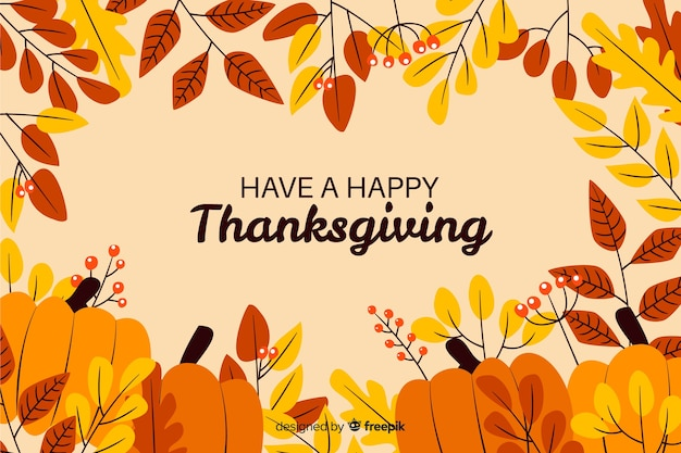 Have a happy thanksgiving dried leaves and pumpkin Free Vector