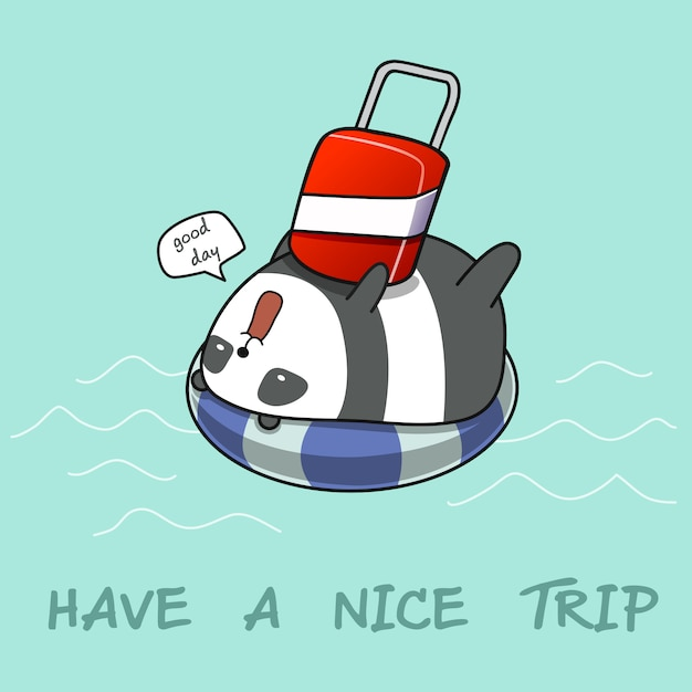Have a nice trip. panda on lifebuoy ring in the sea. Premium Vector