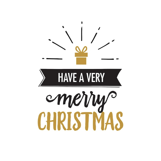 Have very merry christmas lettering Free Vector