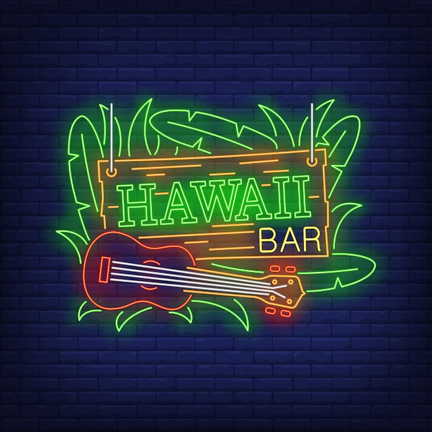 Hawaii bar neon text with ukulele and leaves Free Vector