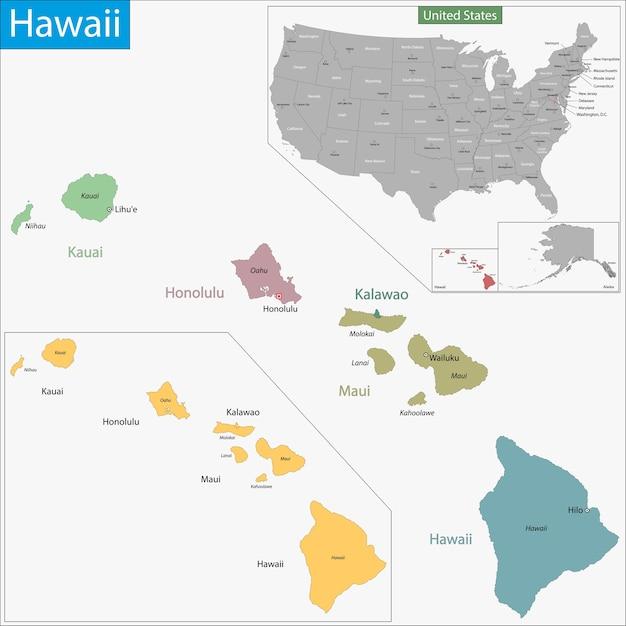 Hawaii Map Vector Premium Download