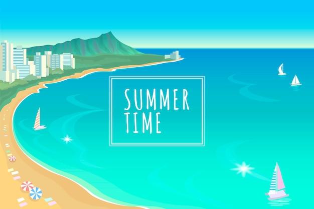 Hawaii ocean bay blue water sunny sky summer travel vacation illustration Premium Vector