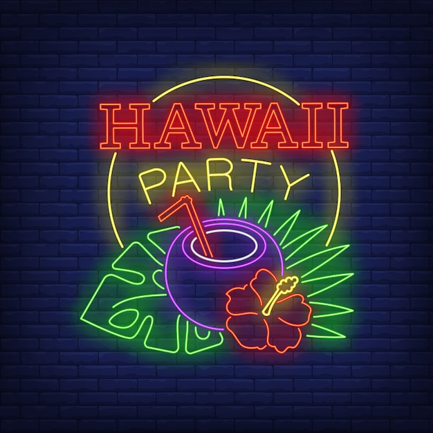 Hawaii party neon text with coconut cocktail and tropical plants Free Vector