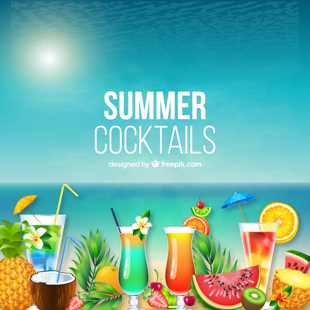 Hawaii summer background with cocktails Free Vector