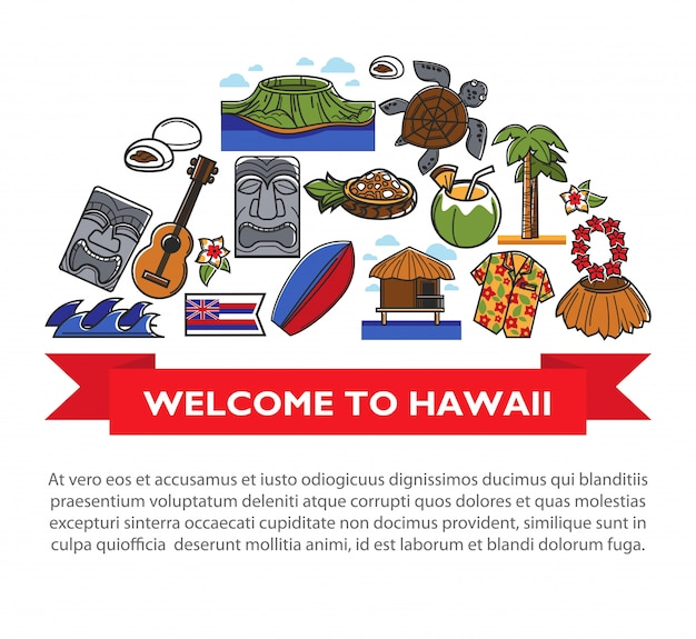 하와이 문화 기호 하와이 여행 포스터 프리미엄 벡터
