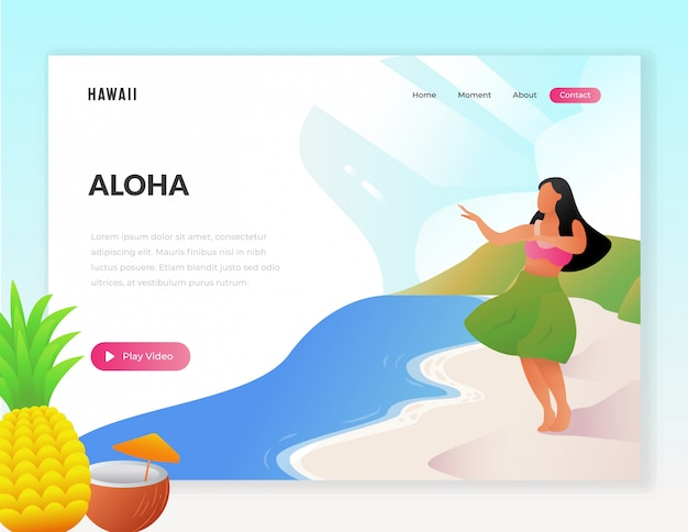 Hawaii vacation tourist web illustration Premium Vector
