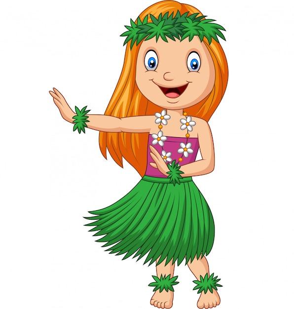Гавайская девушка танцует хула на белом фоне Premium векторы