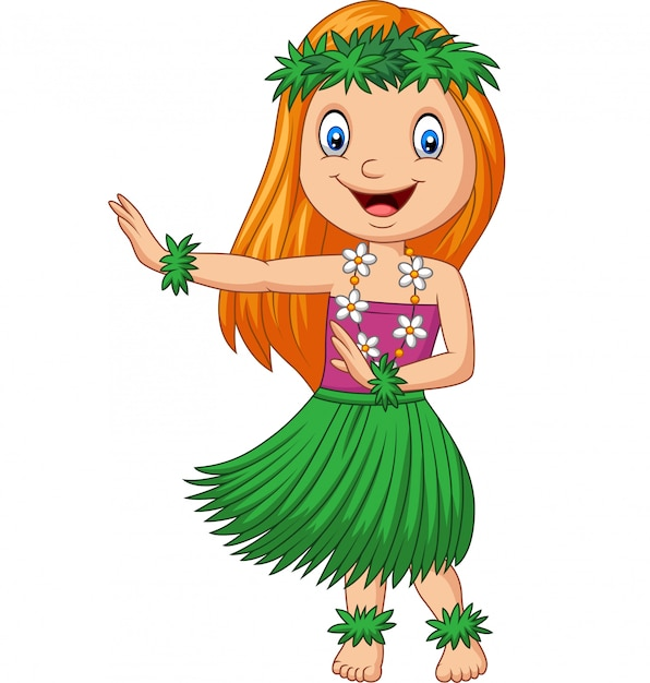 Hawaiian girl dancing hula on white background Premium Vector