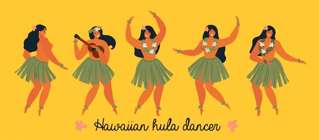 Hawaiian hula dancers young pretty woman banner Premium Vector