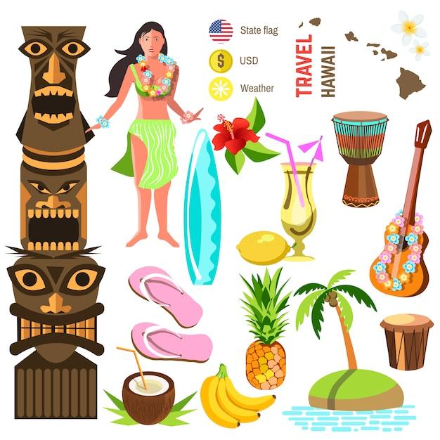 Hawaiian icons and symbols set Premium Vector