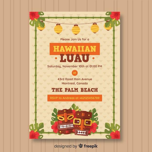 Volantino partito luau hawaiano Vettore gratuito
