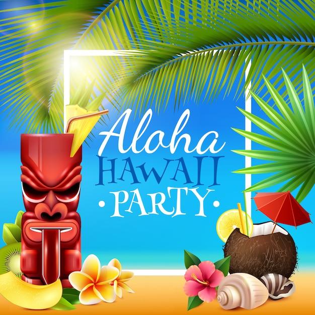 Hawaiian party frame Free Vector