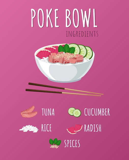 Hawaiian poke tuna bowl with greens and vegetables. Premium Vector